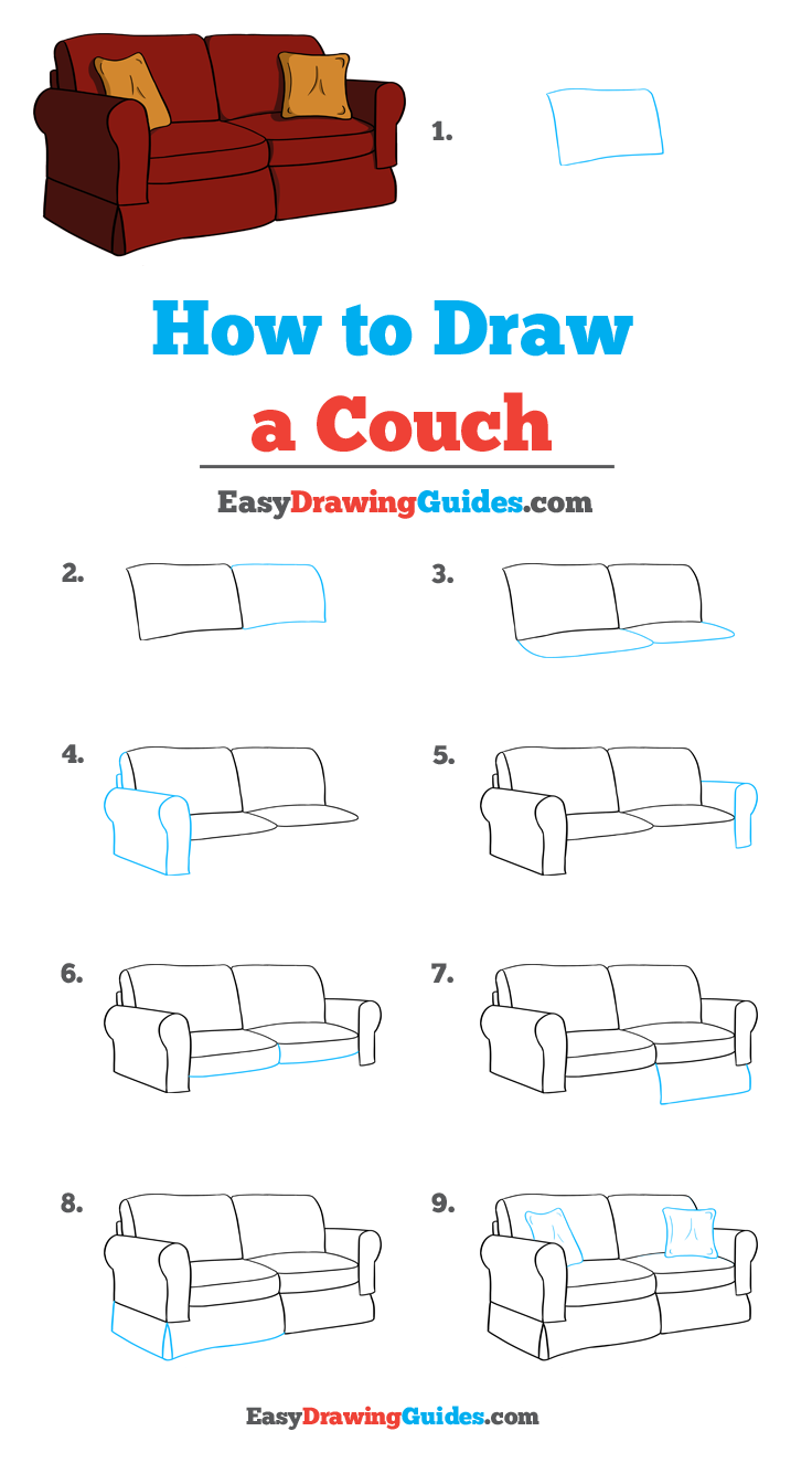 How To Draw A Couch Really Easy Drawing Tutorial In 2020 Drawing Tutorial Easy Furniture Design Sketches Easy Drawings