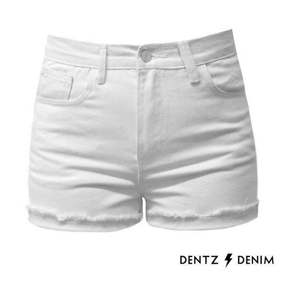 Cuffed White High Waisted Jean Shorts - Cuff ($39) ❤ liked on ...