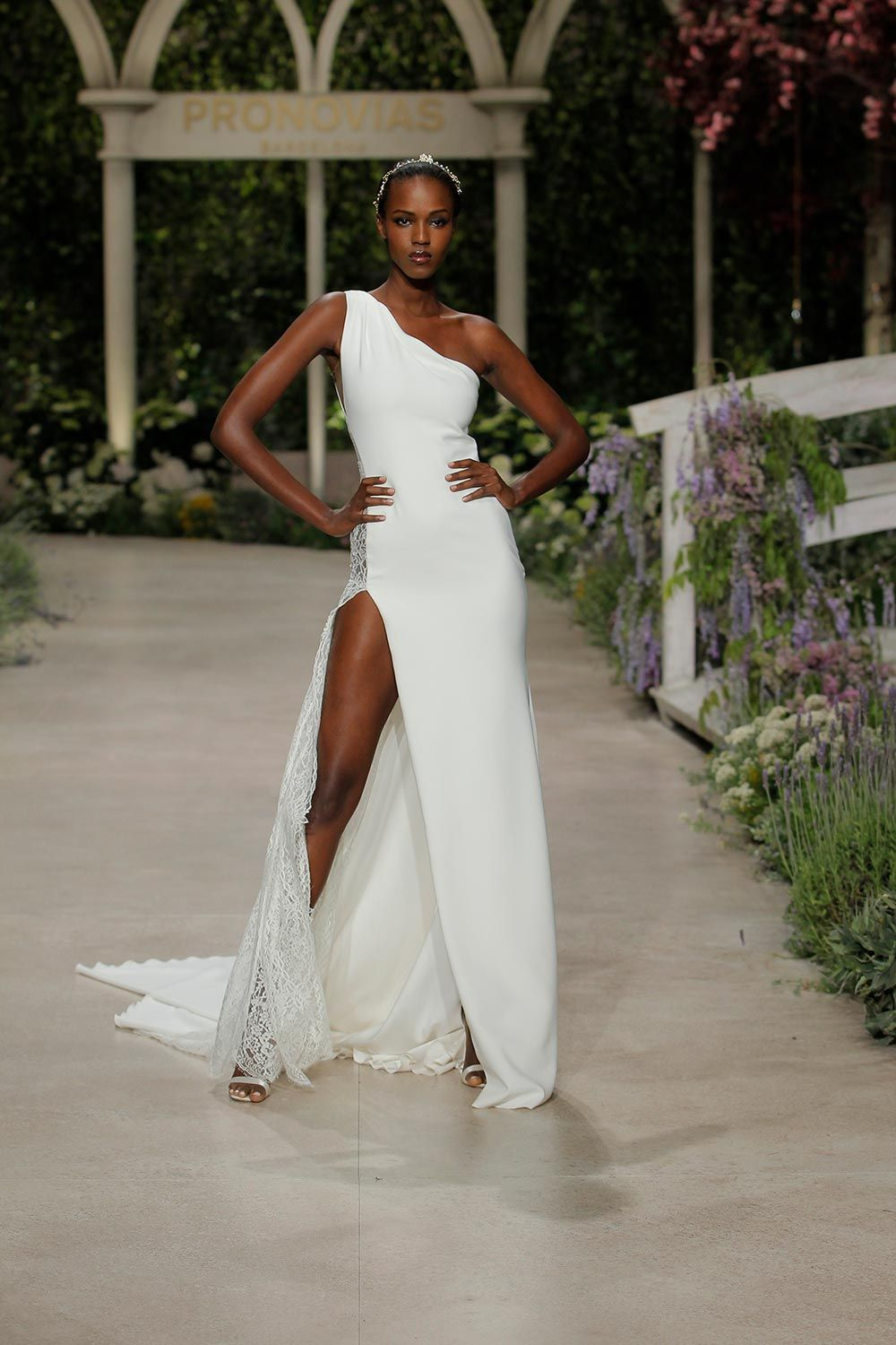 Lace v neck maxi dress april 2019 Pronovias  Spring Bridal Collection In Bloom in   Just