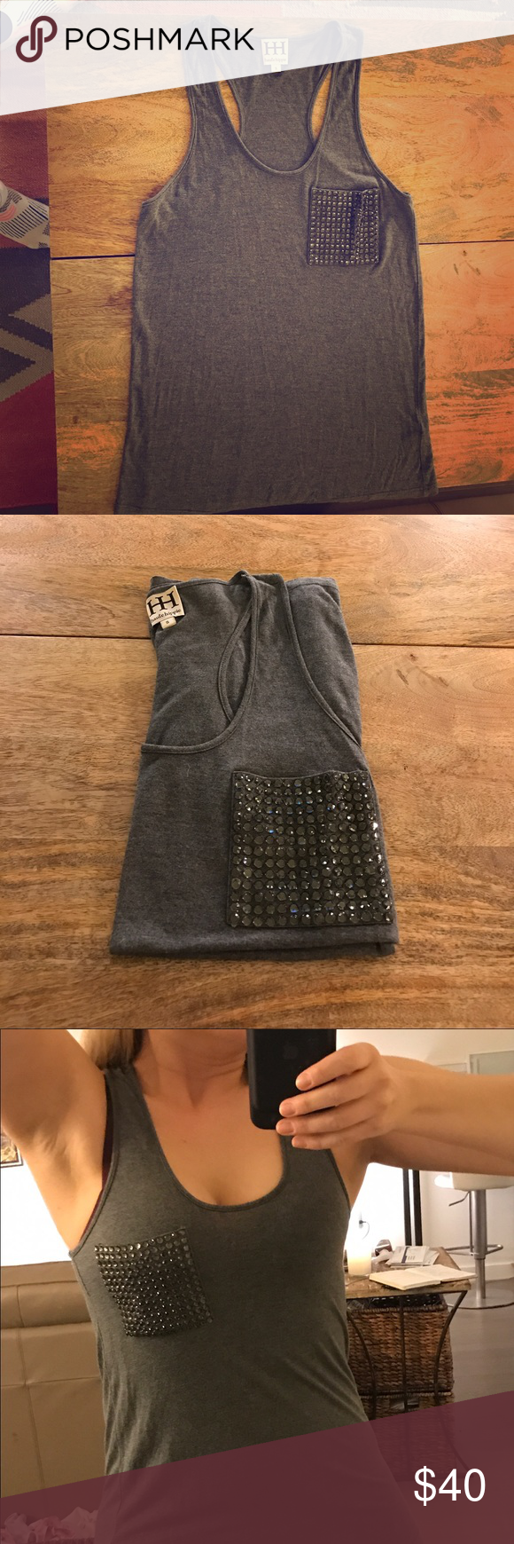 Haute Hippie Jeweled Racerback Top Heather gray super soft racerback Haute Hippie top. Only a couple of times, still like new. Just a little snug for me. Great with jeans, pumps and a blazer - The perfect dressy casual mixing piece.size small Haute Hippie Tops