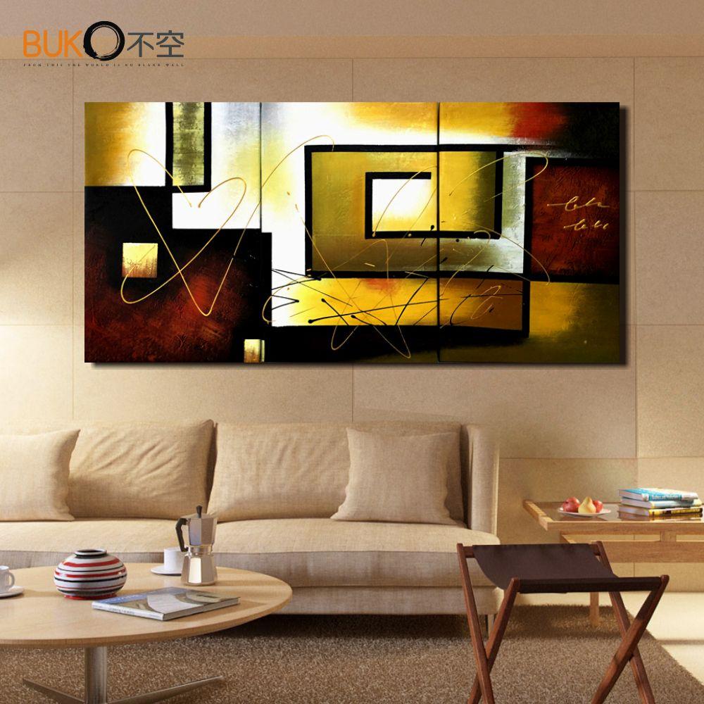 Telas abstratas para sala de estar