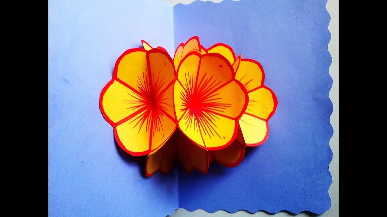 Diy How To Make 3d Flower Popup Card Very Easy Paper Craft Ideas Mother S Day Pop Up Greetingcard Easy Greeting Cards Diy Pop Up Cards Flower Birthday Cards