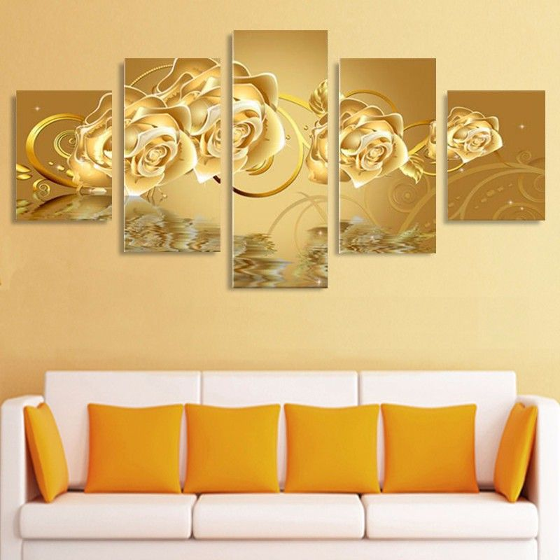 5 Piece Canvas Art Paintings Golden Flower Oil Painting On Canvas