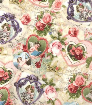Valentine Print Fabric Vintage Cupid Pink Wallpaper Pinterest
