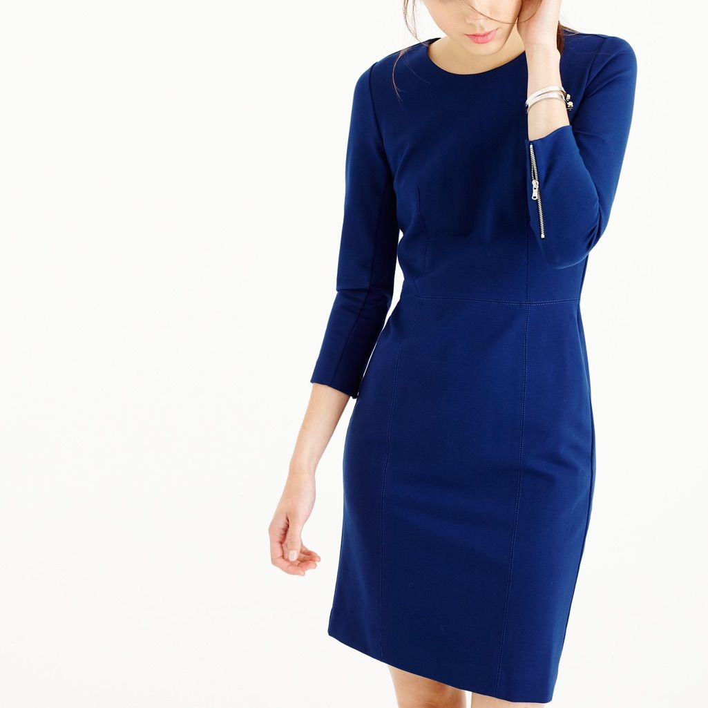U79 Ann Taylor Regular /& Petite Atlantic Navy Faux Wrap Knit Dress $129.00