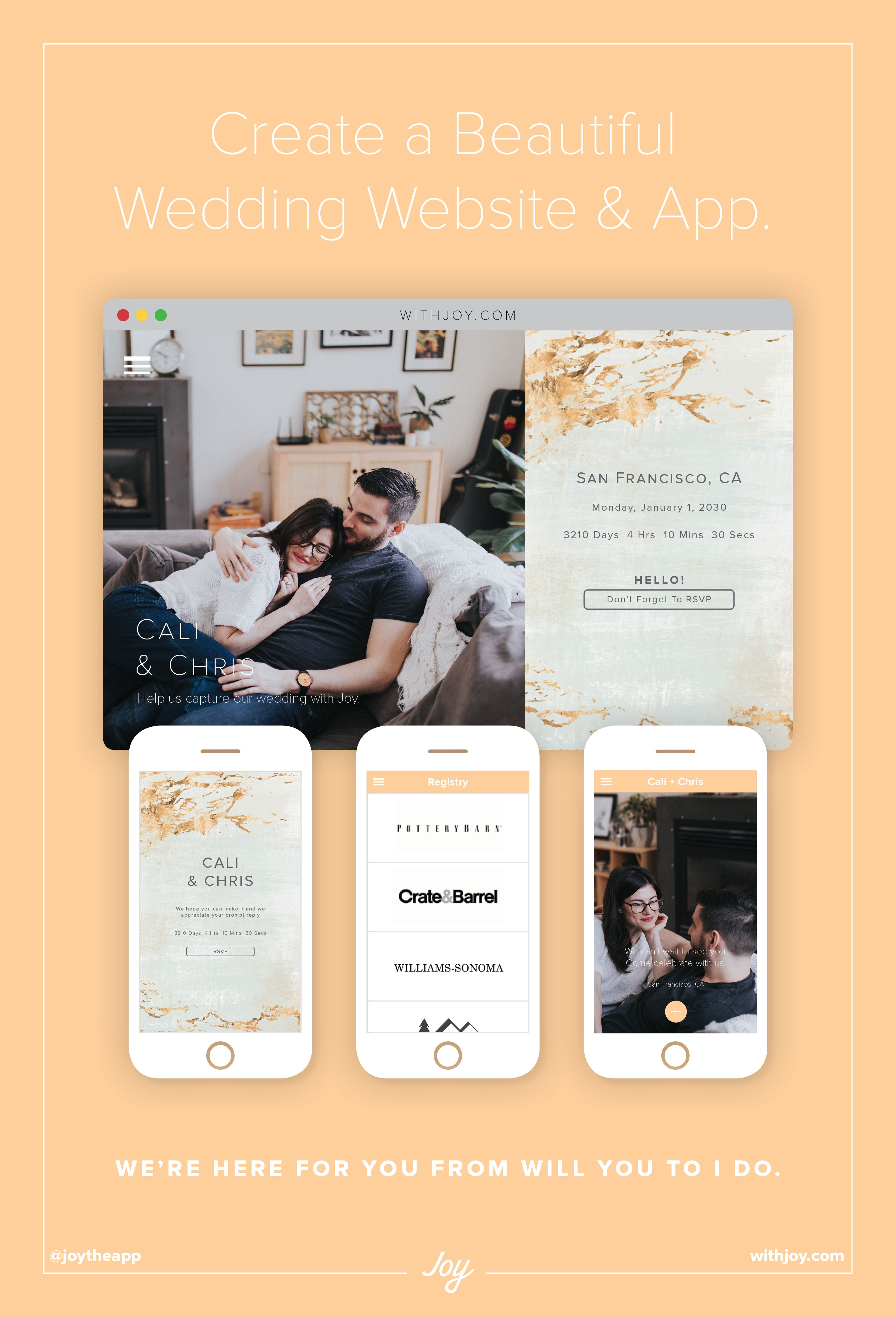 Create A Free Wedding Website And App Withjoy Com Wedding Apps Wedding Website Joy Wedding Website