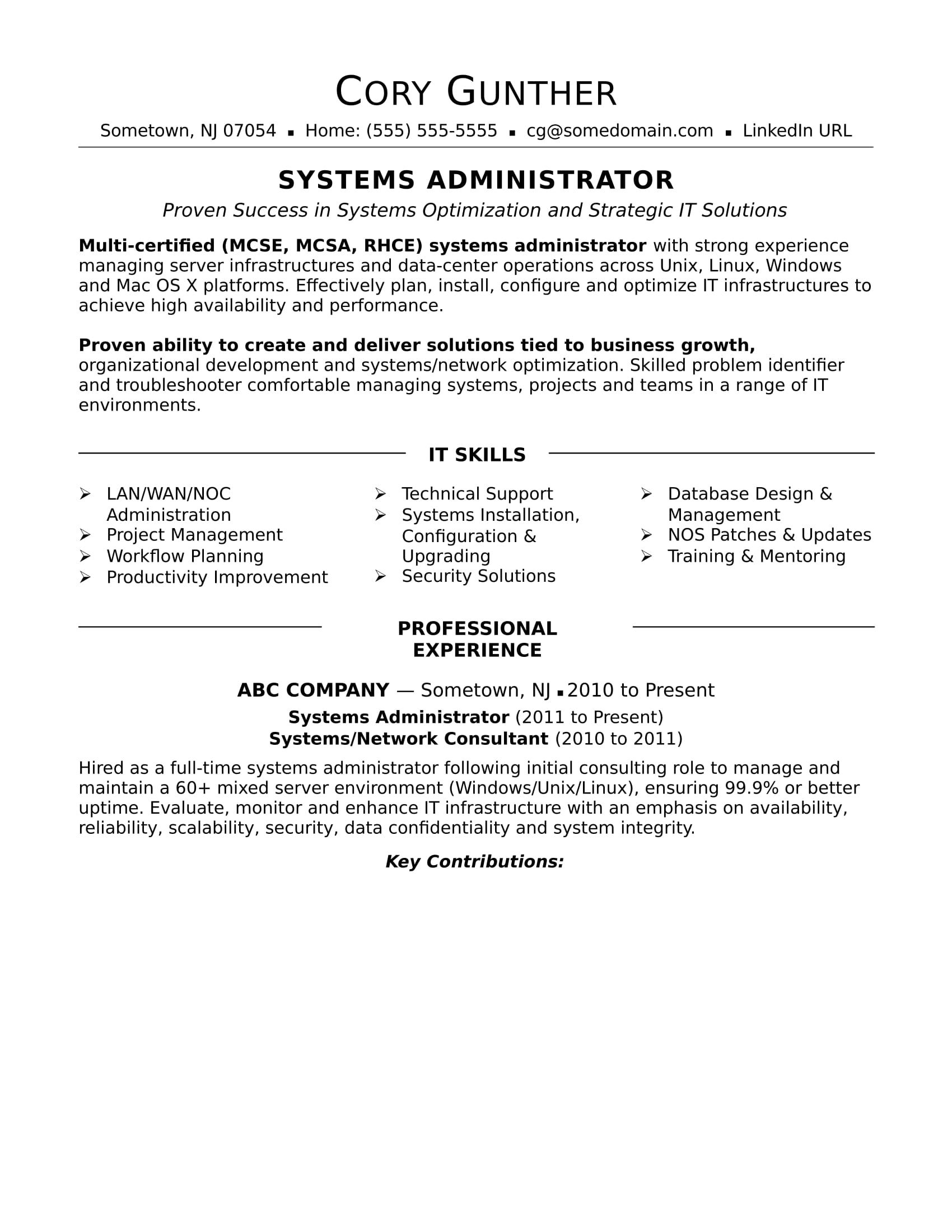 9 Years Experience Resume Format System Administrator Resume