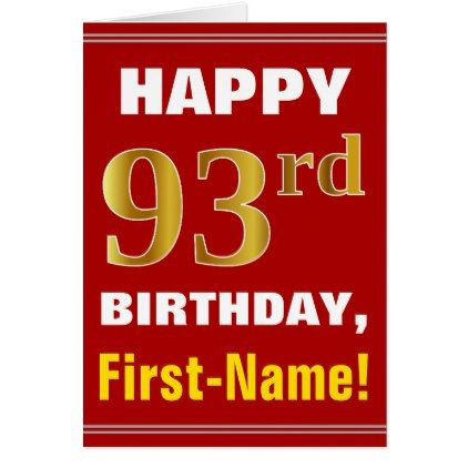 Bold red faux gold 93rd birthday w name card birthday gifts bold red faux gold 93rd birthday w name card birthday gifts bookmarktalkfo Image collections