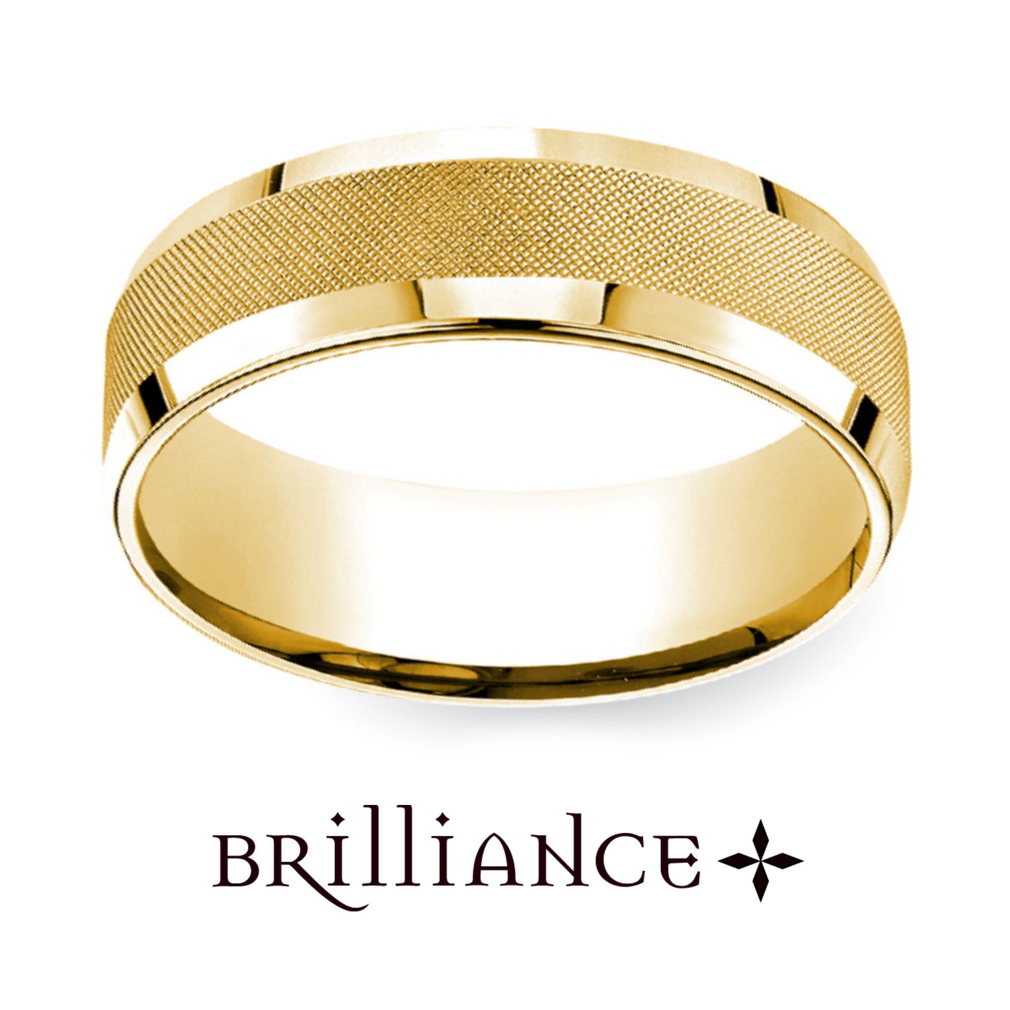 Cross Hatch Men s Wedding Ring in Yellow Gold