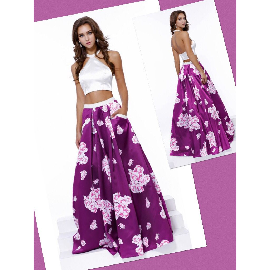Two-Piece long gown with floral skirt.. Beading Embellished on top ...