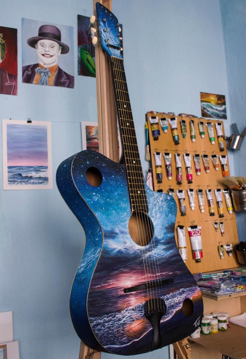 Custom Painted Guitars Starry Night Hand Painted Guitar Guitarists Gifts Guitar Lover Gifts Guitar Lovers Electric Acoustic Guitar In 2021 Guitar Painting Guitar Lover Gifts Guitar Lovers