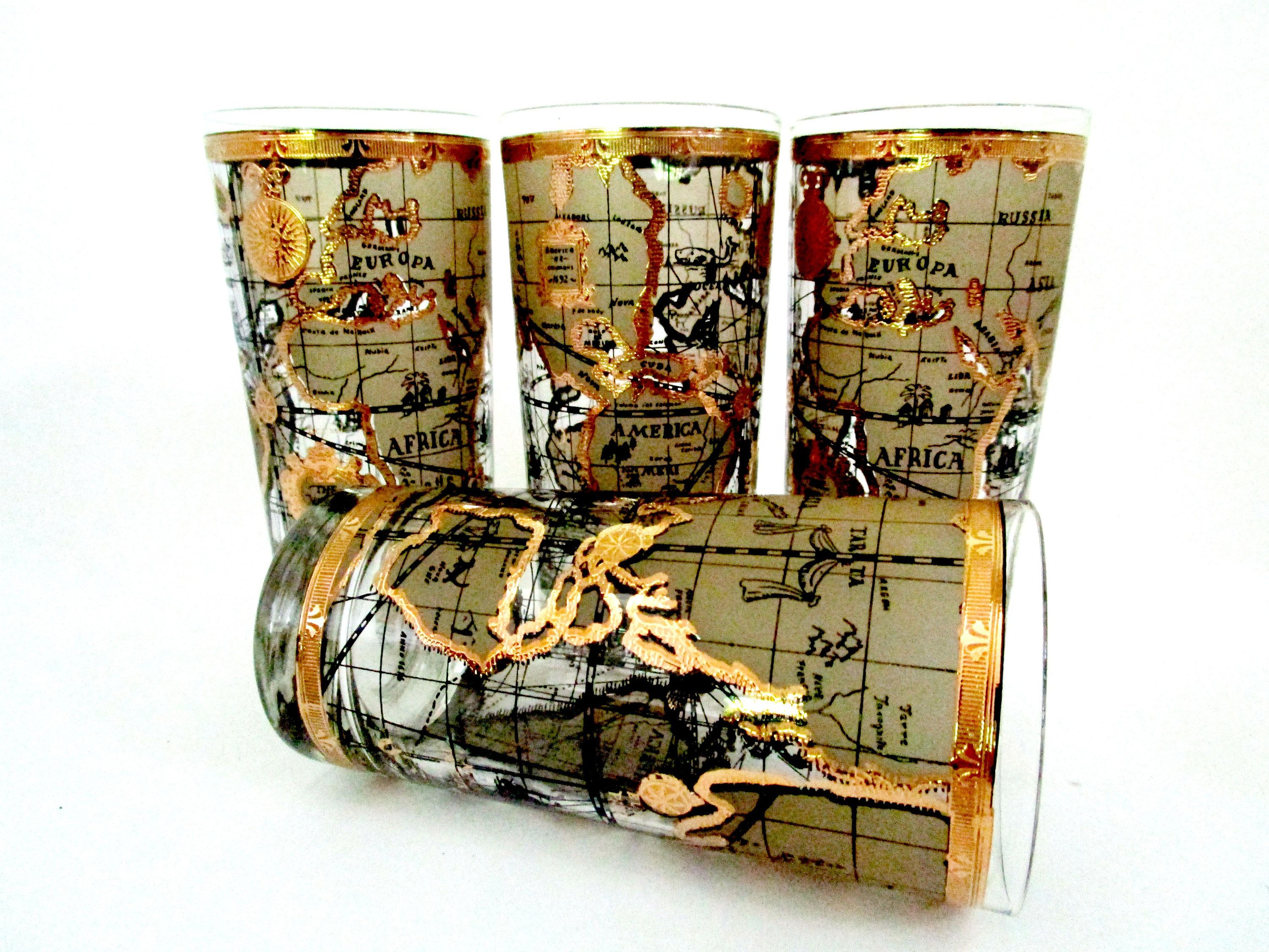 Mid century barware set of 4 cera world map barware world map mid century barware set of 4 cera world map barware world map highballs gumiabroncs Image collections