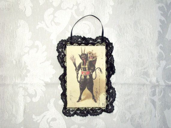 Krampus ornament with whip and basket - Christmas devil, Victorian