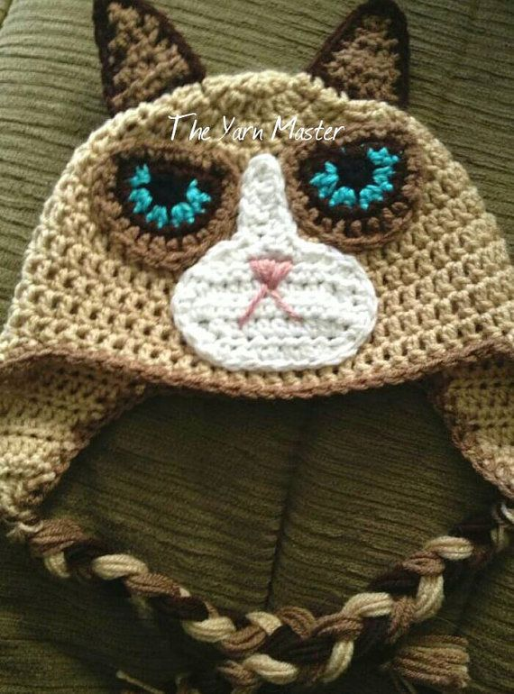 Grumpy cat hats with ear flaps made to order #characterhats ...