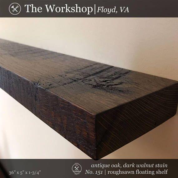 36 reclaimed wood antique oak floating shelf roughsawn face dark rh pinterest com dark oak effect floating shelf