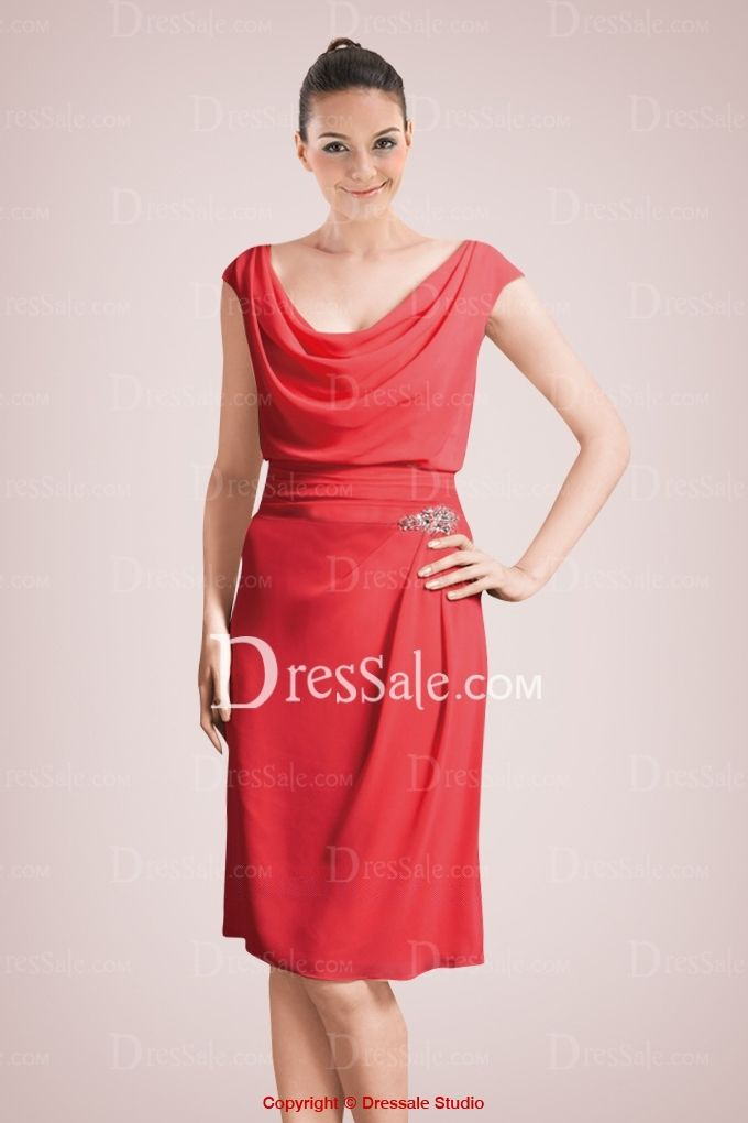 Eye-catching Chiffon Knee-length Mother of Bride Dress Featuring Cowl Neckline and Beaded Accents--front