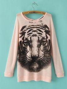 Long Sleeve Tiger Pattern T-Shirt