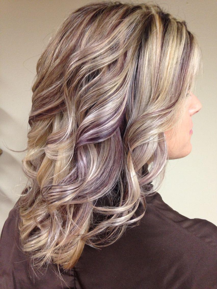 Beautiful Earthy Purple Lowlights Hair Styles Blonde Hair With