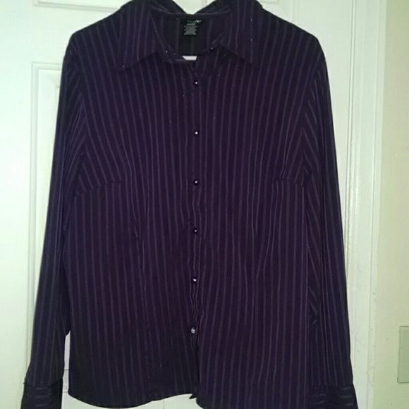 Button up blouse Purple womens button up blouse, it has a shimmer to in on the vertical stripes all around the blouse. East 5th Tops Button Down Shirts