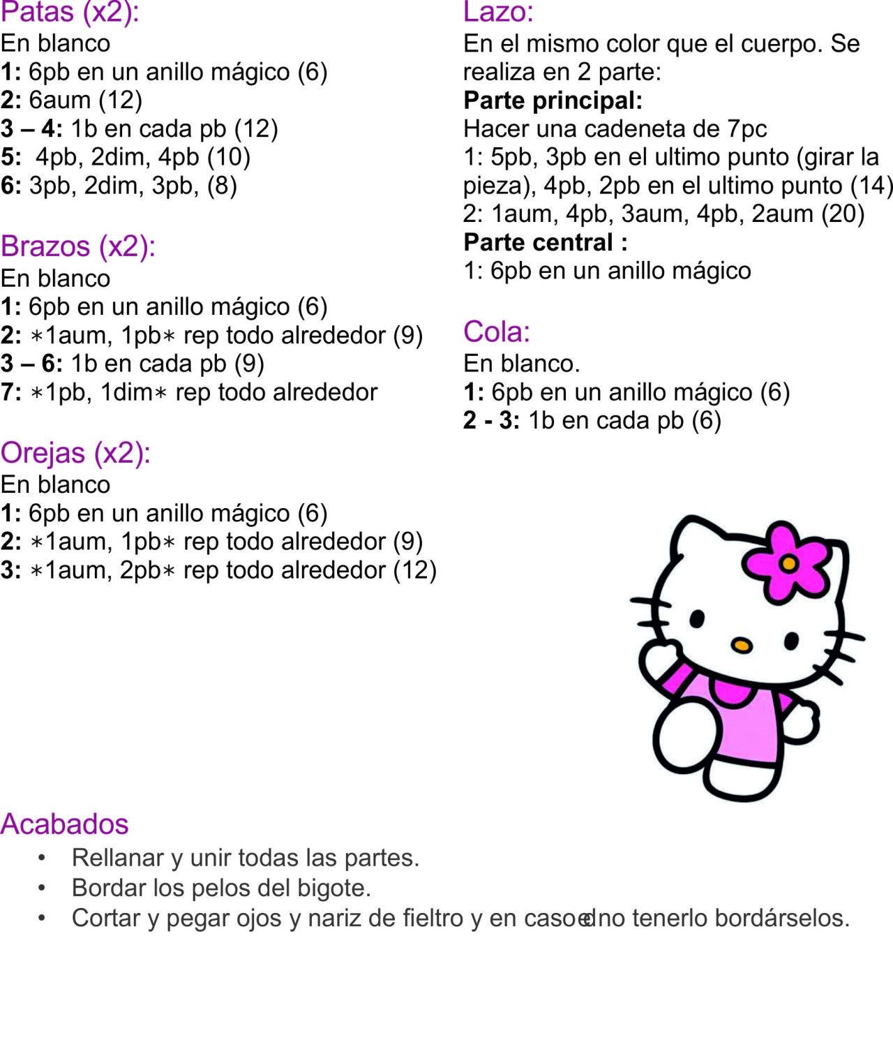 AMIGURUMIS: MINI HELLO KITTY paso a paso | Patrones de crochet ...