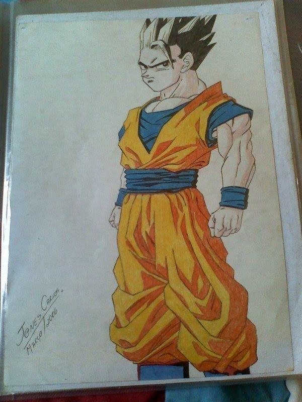 SUPER GOHAN - Dragon Ball Z. Lápis de cor sobre Canson A3.  Desenhado por JONES CARLOS.