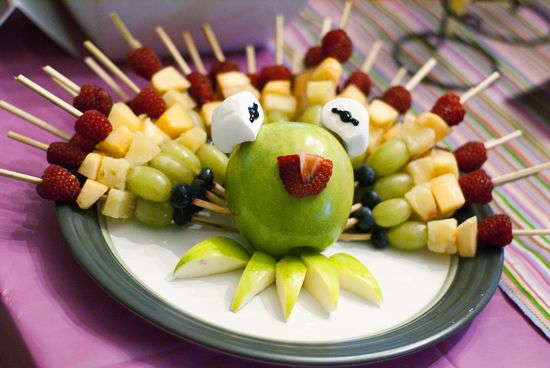 Muppet Party! inspired by Alicia Policia - Kermit the Frog Rainbow Fruit Skewers