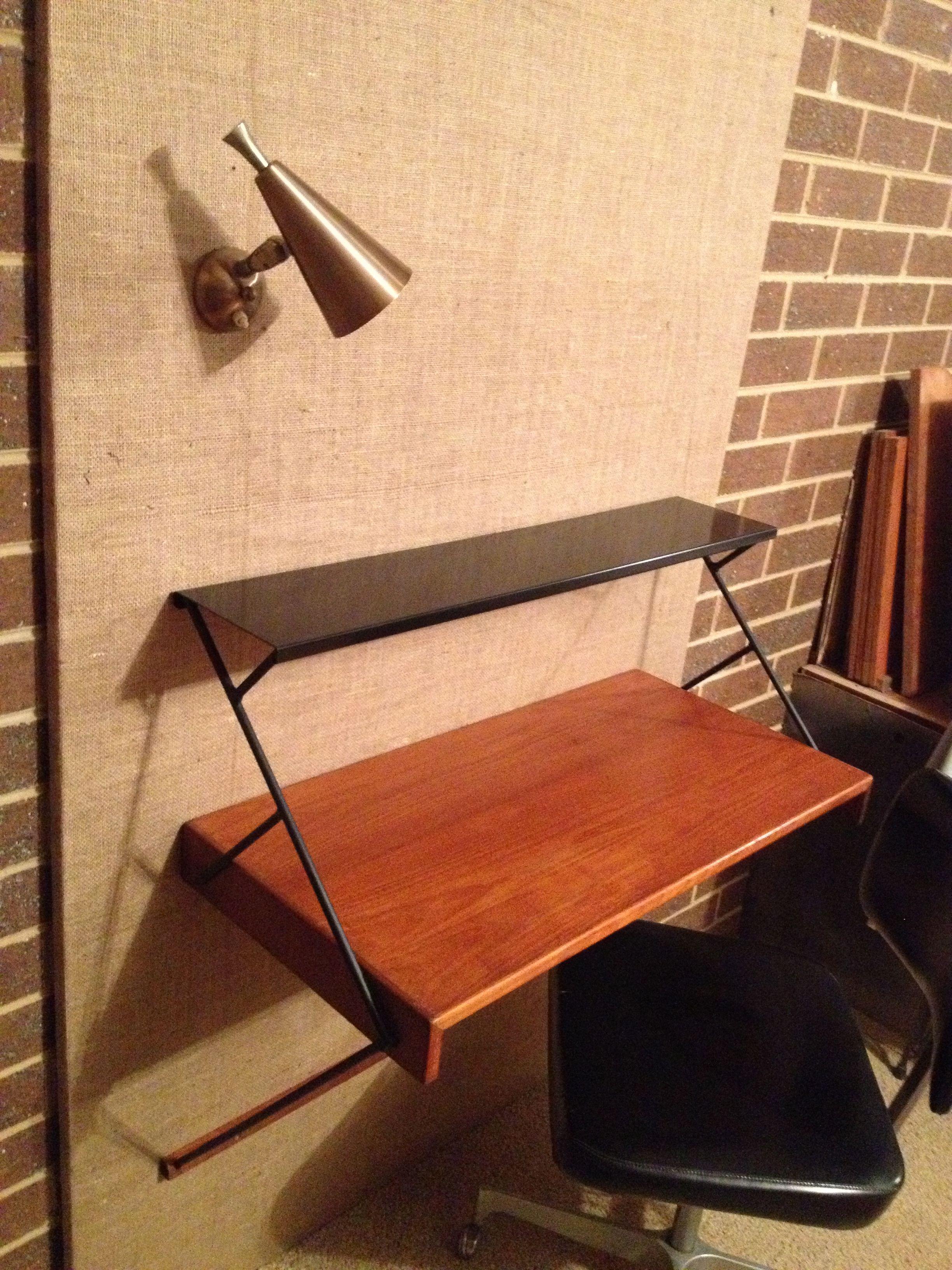 Danish Mid Century style wall mount desk workstation by Kurrlson Ind