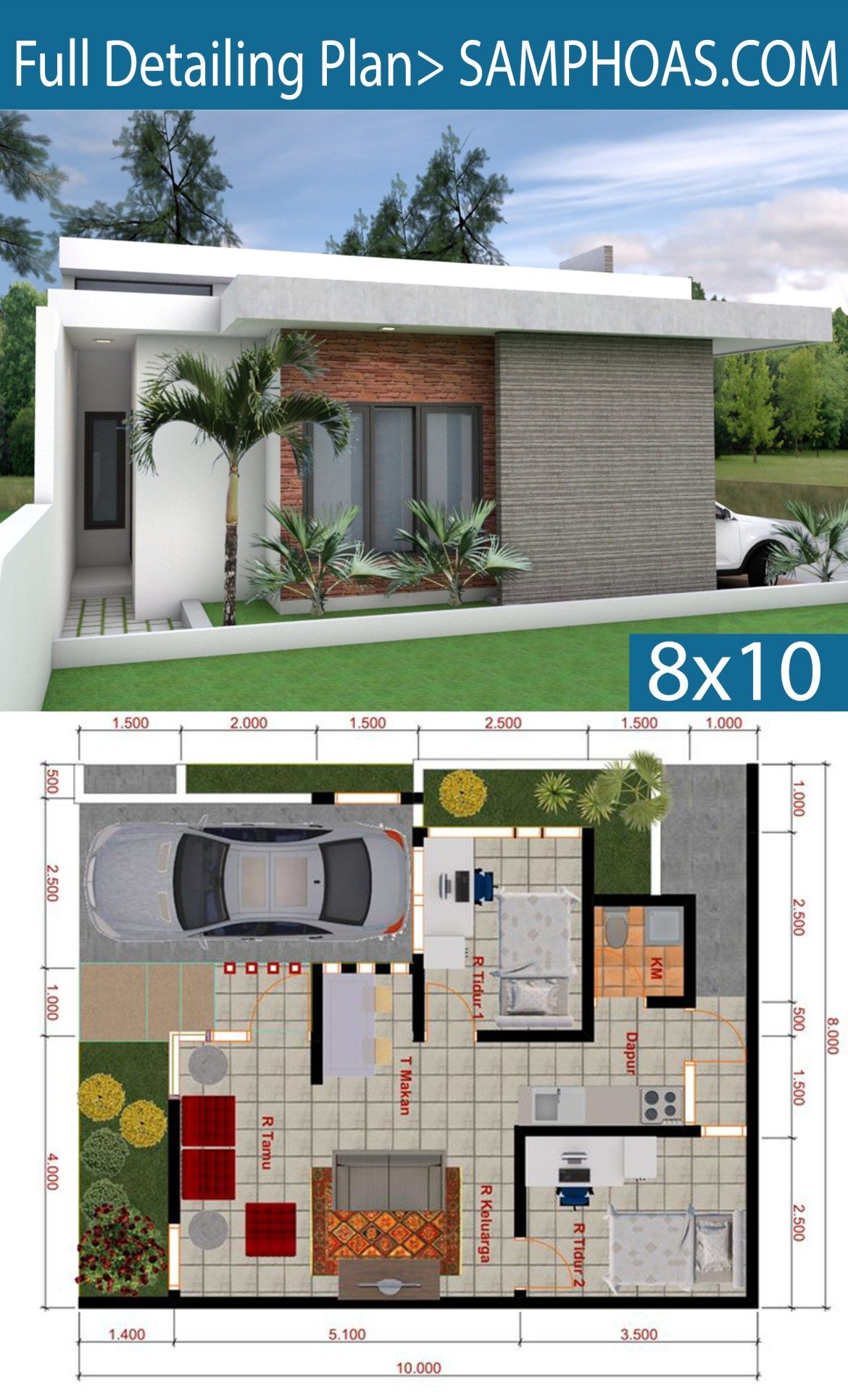 Sketchup House Modeling Idea From Photo 8x10m Samphoas Plansearch House Plans Mansion Bungalow House Plans Sims House Plans