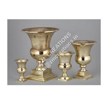 Gold Aluminium Metal Flower Vase Urn For Christmas And Wedding