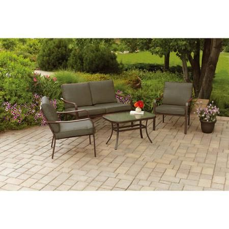 Outdoor patio furniture new bistro set 4 piece home garden red cushioned 4 piece
