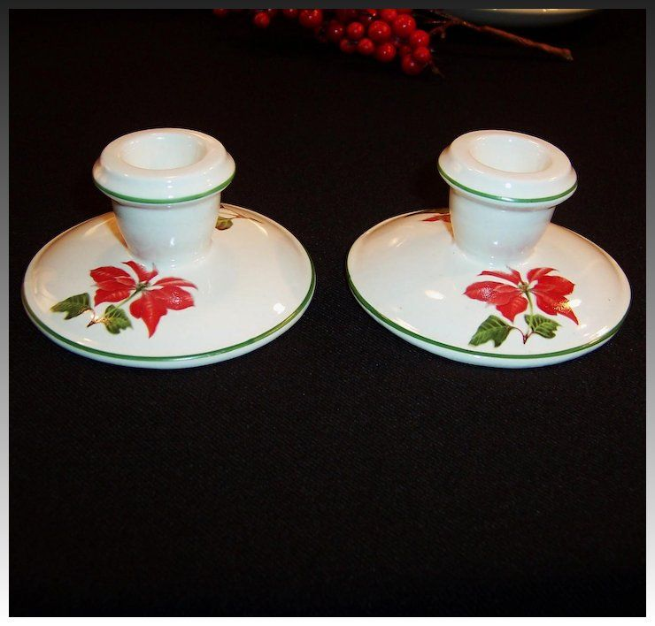 Cuthbertson Christmas Poinsettia Candle Holders Thinking Christmas