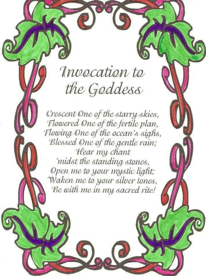 Invocation To The Goddess Hedgewitchery Pinterest