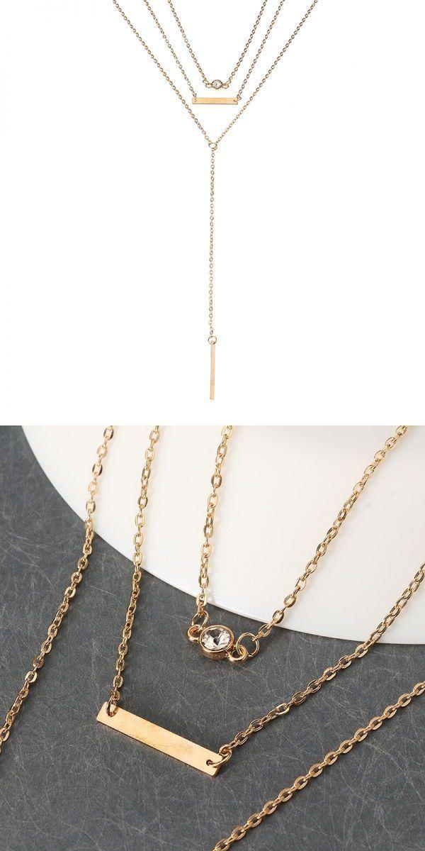 Elegant crystal zinc alloy necklace simple multilayer chain for elegant crystal zinc alloy necklace simple multilayer chain for women necklace pendants bulk bico aloadofball Images