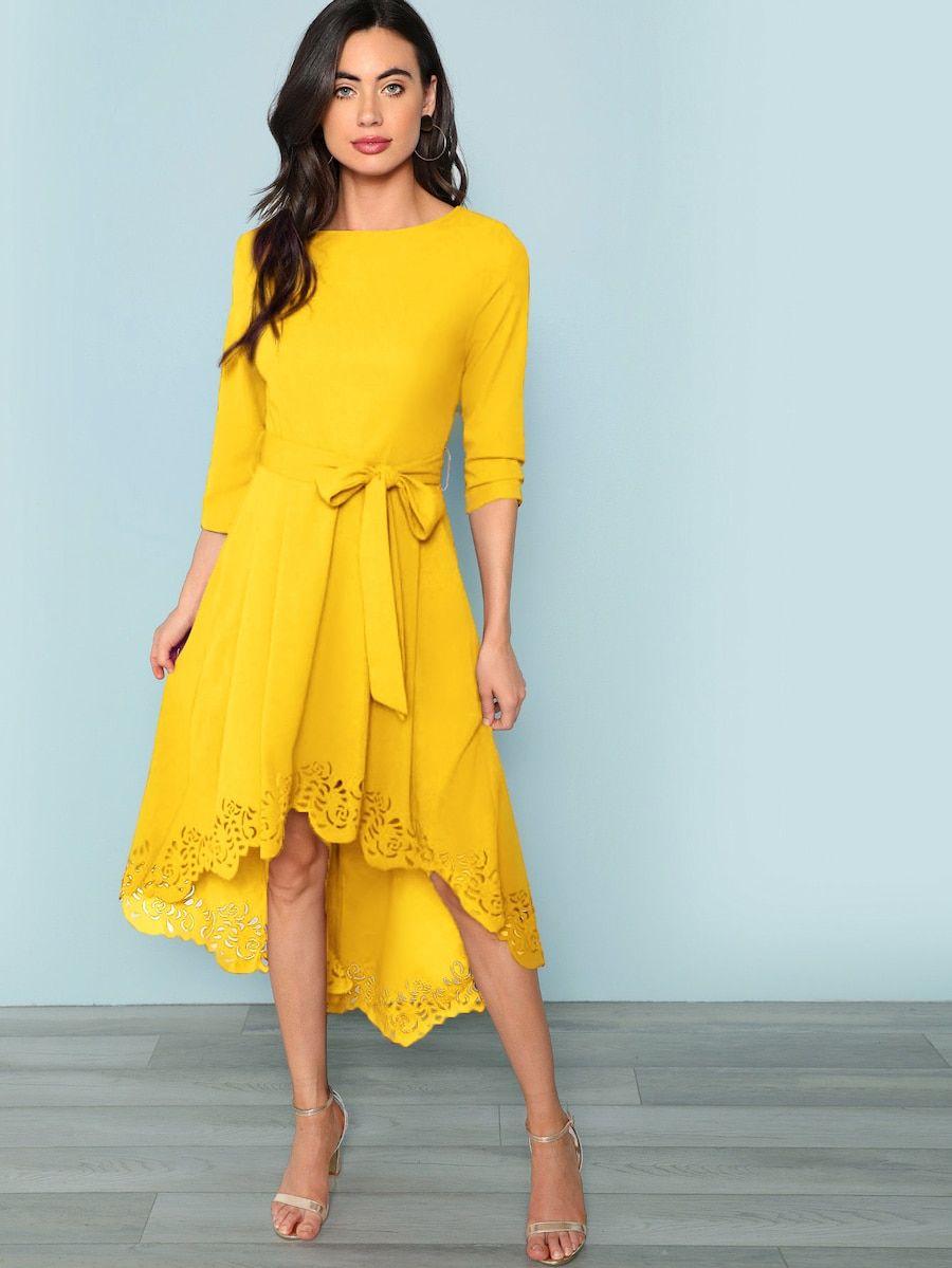 52d0206cf6 Laser Cut Dip Hem Dress with Belt -SheIn(Sheinside) | II DRESSES <3 ...