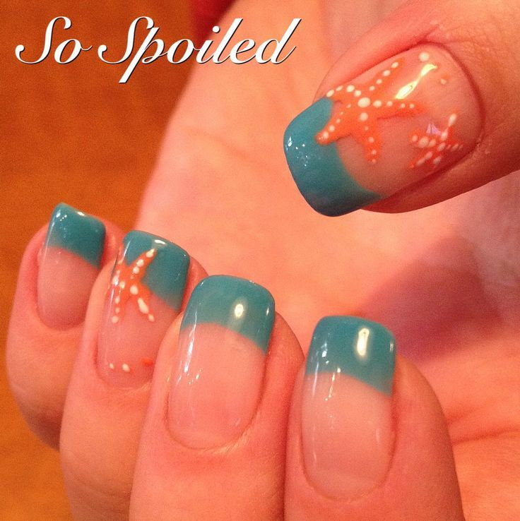 Top 16 famous starfish nail designs new simple trend on manicure spring 2015 or winter getaway nails in aqua with simple hand painted coral starfish prinsesfo Images