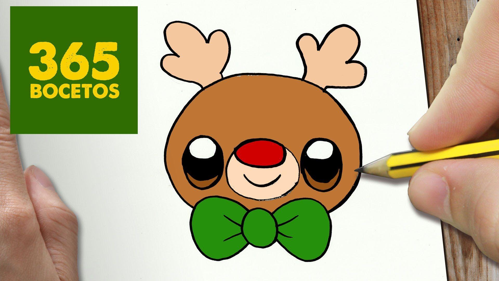 Como Dibujar Un Rudolf Para Navidad Paso A Paso Dibujos Kawaii