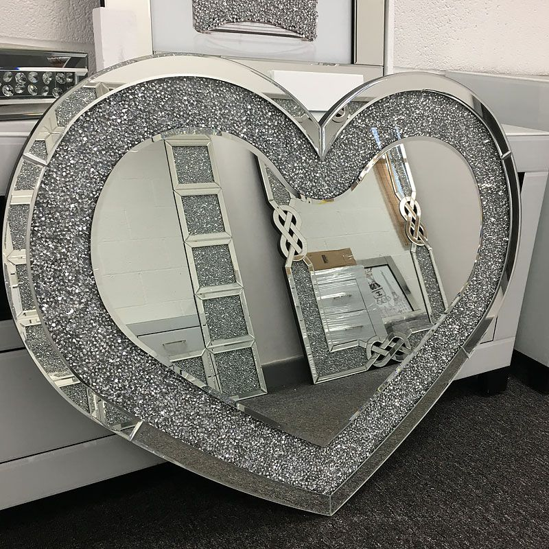 Sparkly Silver Mirrored Love Heart Shape Crystal 6 Tea Light Holder