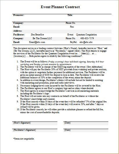 Event Planner Contract Template for WORD Word \ Excel Templates - event coordinator contract template