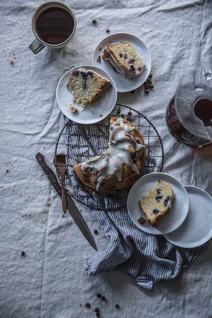 blueberry & rosemary brown butter cake + buttermilk glaze x velo coffee by Beth Kirby   {local milk}