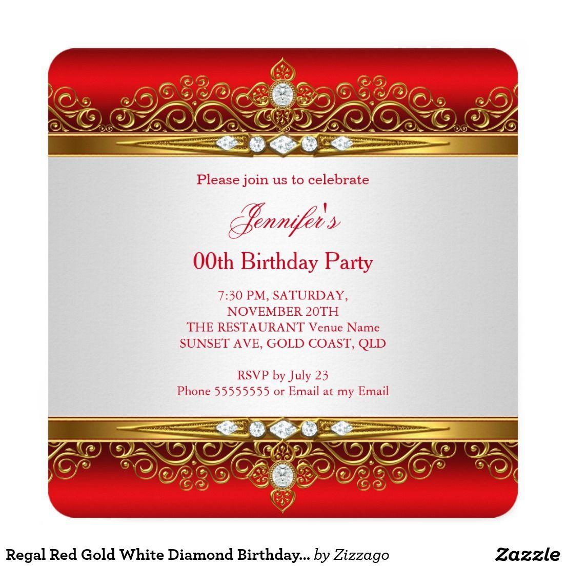 Regal Red Gold White Diamond Birthday Party Invitation