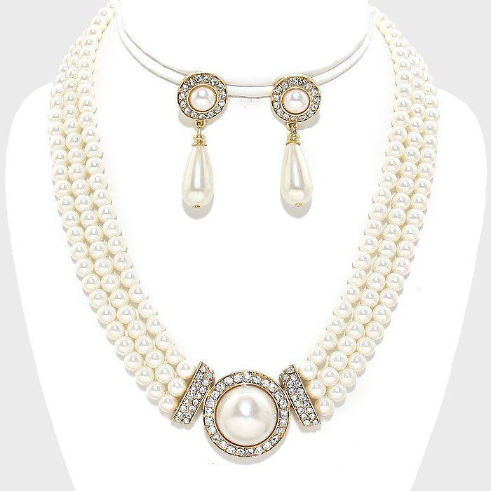 90fabd0f30784 Victorian Pearl Choker Earrings Set, Pearl Bridal Choker, Multi ...