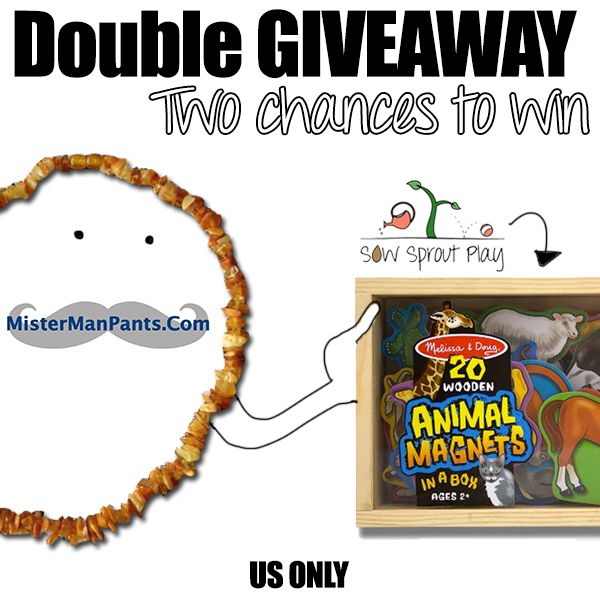 Go to www.sowsproutplay.com for more info and enter for your chance to win your choice of an adult or baby baltic amber necklace and Melissa & Doug wooden animal magnets!