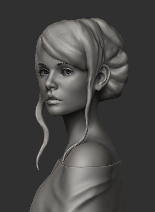 girl anastasia 3d model obj stl ztl 3 Скульптура