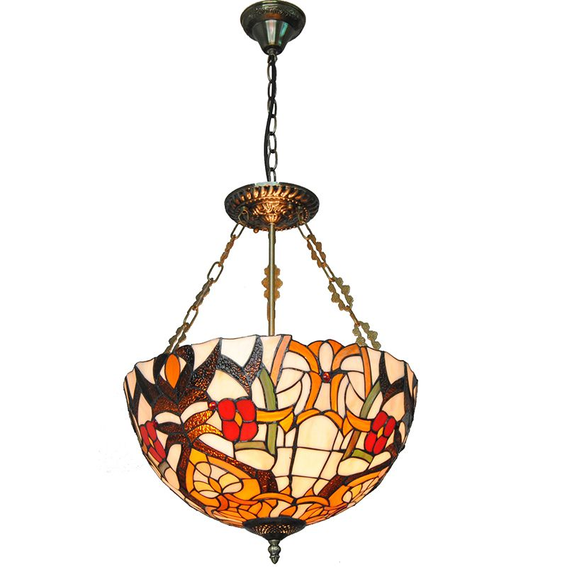 3 Lights European Vintage Flowers Patterned Inverted Pendant Lamp Antique Stained  Glass Living Room Dining Room