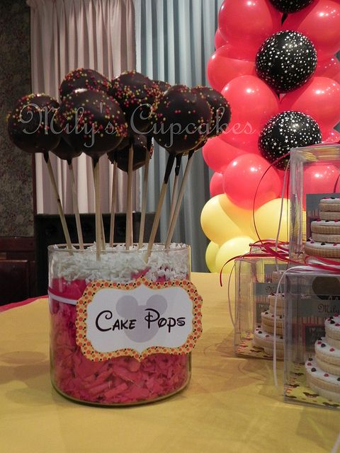 disney mickey mouse party dessert table cake pops