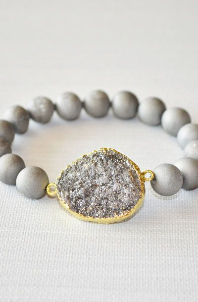 Silver Druzy Bracelet Stretch With Agate Beads