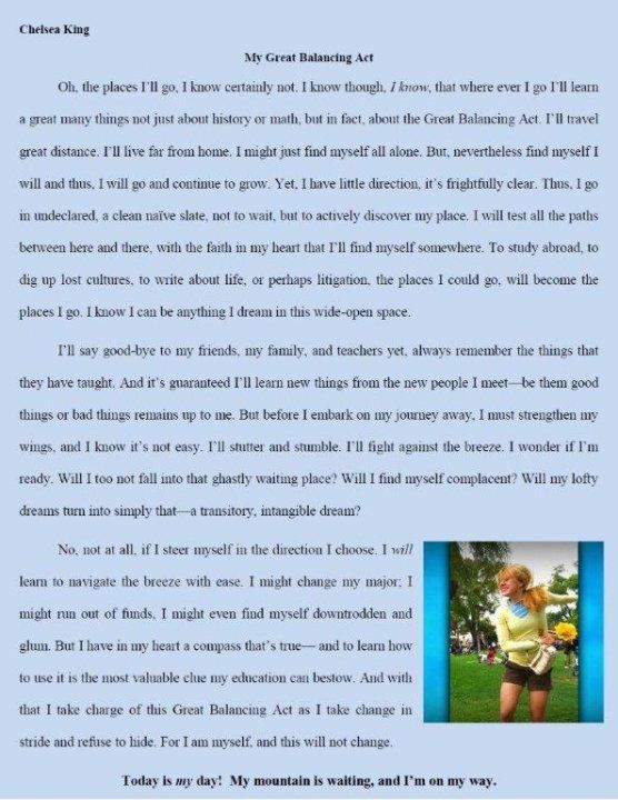 Please Enjoy Chelsea S Essay That Wa Submitted For A Dr Seus College Scholarship Right Before Went Missi Words