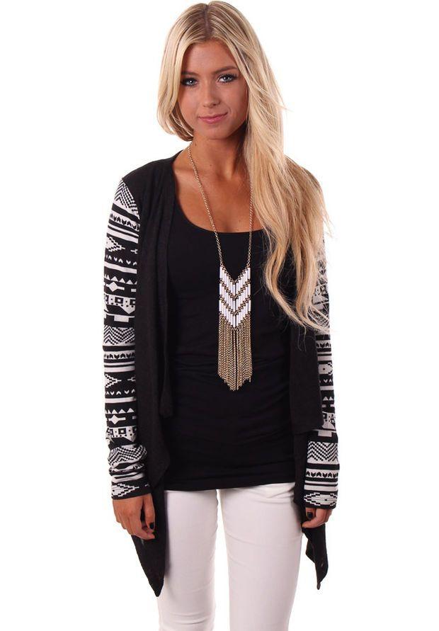 Black Aztec Print Sleeve Cardigan