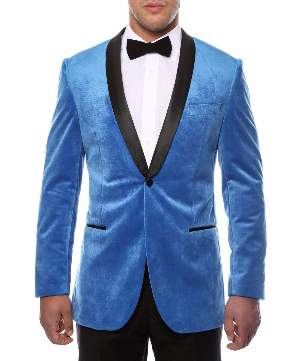2018 Latest Coat Pant Designs Sky Blue Velvet Wedding Suits for Men ...