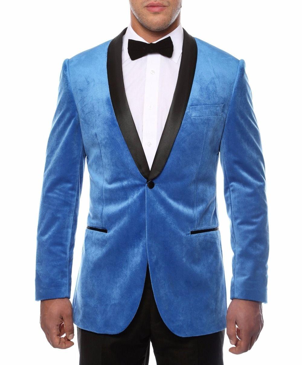 2018 Latest Coat Pant Designs Sky Blue Velvet Wedding Suits for Men ...
